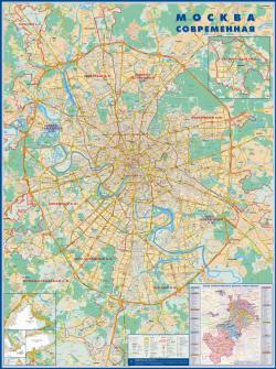 Карта Москва настенная
