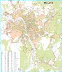 Карта Псков настенная ламинированная