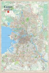 Карта Санкт Петербург настенная