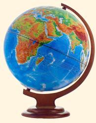 Глобус двойная карта рельефный на деревянной подставке с подсветкой