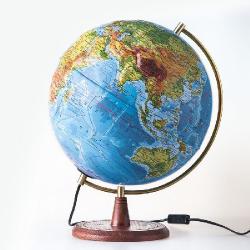 Глобус двойная карта на деревянной подставке с подсветкой «ЭЛЕГАНС»