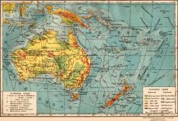 Карта Австралии и Океании 2х ст настенная