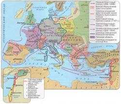 Карта Европа 11-13 в.Крестовый поход. Настенная.