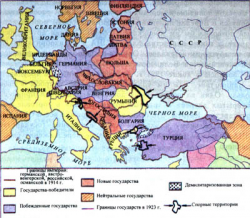 Карта Европа после 1-ой Мировой войны (2 листа) настенная
