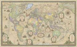 Карта мира Ретро в тубусе на рейках настенная
