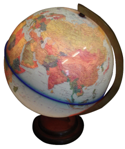 Глобус двойная карта на деревянной подставке с подсветкой
