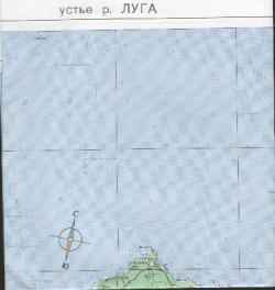 Карта Устье реки  Луга. Кингисепп (окрестности)