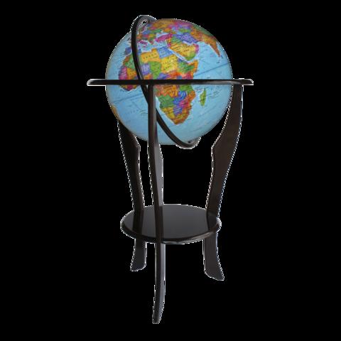 Глобус напольный политический на дуге и подставке из дерева