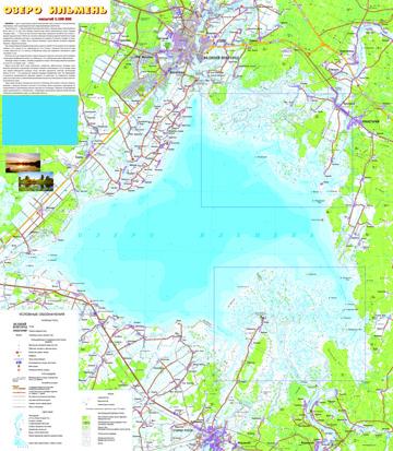 Карта озера Ильмень. Дельта рек Мста, Ловать